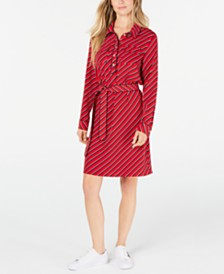 Tommy Hilfiger Bias-Striped Shirtdress, Created for Macy's