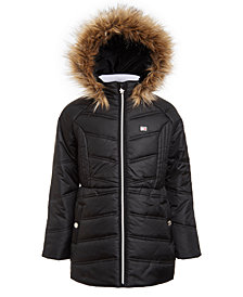 Tommy Hilfiger Big Girls Fur-Trim Hooded Chevron Puffer Jacket