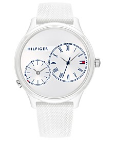 Tommy Hilfiger Women's White Rubber Strap Watch 38mm