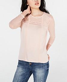Juniors' Long-Sleeve Mixed-Media Top, Created for Macy's