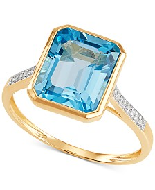 Blue Topaz (4 ct. t.w.) & Diamond Accent Ring in 14k Gold