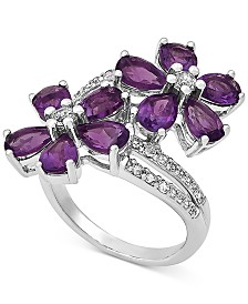 Amethyst (3-1/2 ct. t.w.) & White Topaz (1/2 ct. t.w.) Flower Statement Ring in Sterling Silver