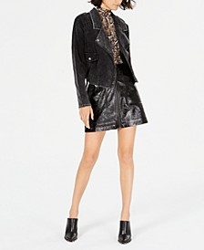 Sadie & Sage Corduroy Moto Jacket, Mock-Neck Snake-Print Top & MINKPINK Faux-Leather Mini Skirt
