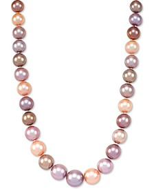 "Multicolor Cultured Ming Pearl (9-13mm) Graduated 18"" Collar Necklace"