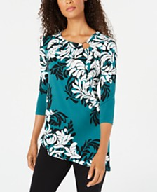JM Collection Petite Asymmetrical Top, Created for Macy's