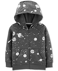 Toddler Boys Space-Print Zip-Up Fleece Hoodie