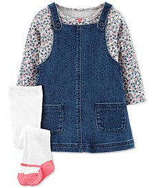 Baby Girls 3-Pc. Floral-Print T-Shirt, Denim Jumper & Footed Tights Set