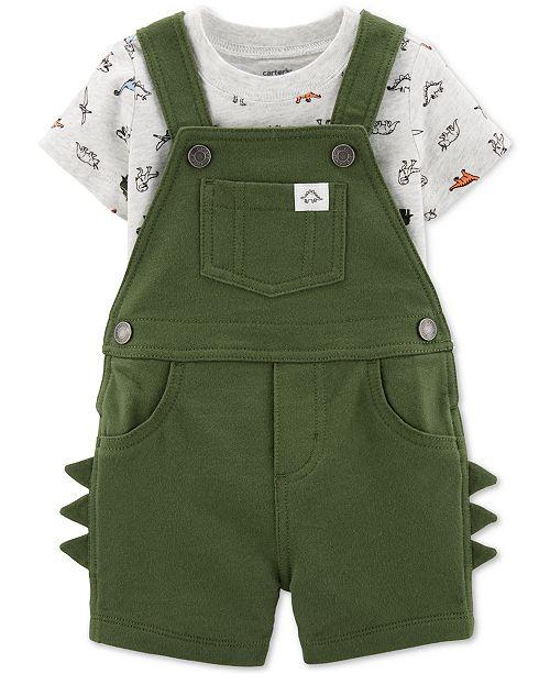 Carter's Baby Boys 2-Pc. Cotton Dinosaur-Print T-Shirt & Shortalls Set