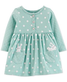 Carter's Baby Girls Dot-Print Bunnies Cotton Dress