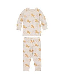 Masala Baby Girl Organic Pajama Set Unicorn Stars