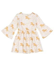 Masala Baby Girl Organic Simple Dress Unicorn Stars