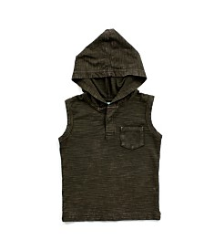 Toddler Boy Mineral Wash Henley Hood Tank