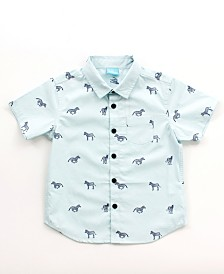 Toddler Boy Printed Button Down Shirt