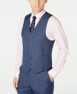 Men's Classic-Fit UltraFlex Stretch Blue Birdseye Suit Separate Vest