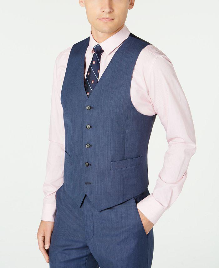 Lauren Ralph Lauren - Men's Classic-Fit UltraFlex Stretch Navy Blue Pinstripe Suit Vest