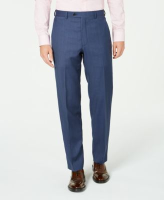 Men's Classic-Fit UltraFlex Stretch Blue Birdseye Suit Separate Pants