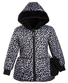 Toddler Girls Hooded Printed Peplum Jacket With Faux-Fur Trim & Mittens