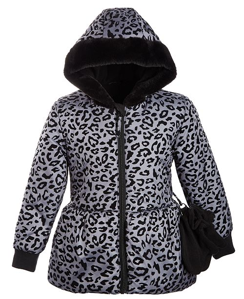 S Rothschild & CO Toddler Girls Hooded Printed Peplum Jacket With Faux-Fur Trim & Mittens