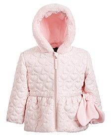 Little Girls Hooded Quilted Coat With Faux-Fur Trim & Mittens
