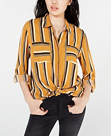 Juniors' Printed Utility Shirt