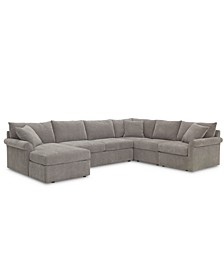 Wedport 5-Pc. Fabric Modular Chaise Sleeper Sectional Sofa with Square Corner Piece, Created for Macy's
