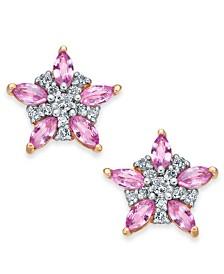 Pink Sapphire (1-1/3 ct. t.w.) & Diamond (1/5 ct. t.w.) Star Stud Earrings in 14k Rose Gold