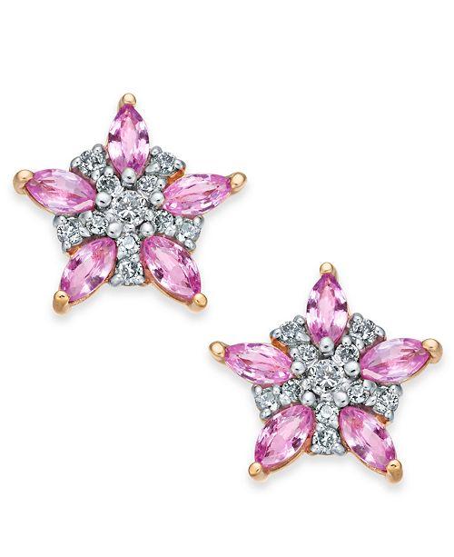 Macy's Pink Sapphire (1-1/3 ct. t.w.) & Diamond (1/5 ct. t.w.) Star Stud Earrings in 14k Rose Gold