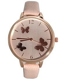 Women's Reflective Butterflies Dial Leather Strap Watch 40mm