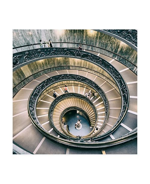 "Trademark Global Philippe Hugonnard Dolce Vita Rome 3 Spiral Staircase V Canvas Art - 36.5"" x 48"""
