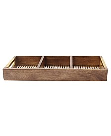 """Hanneli Gold Metal and Wood Divided Tray - 18"""" x 8"""""""