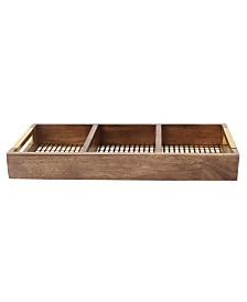 """Kate and Laurel Hanneli Gold Metal and Wood Divided Tray - 18"""" x 8"""""""