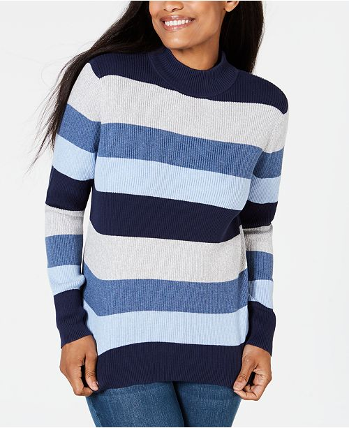 Karen Scott Petite Striped Mock-Neck Cotton Sweater, Created For Macy's
