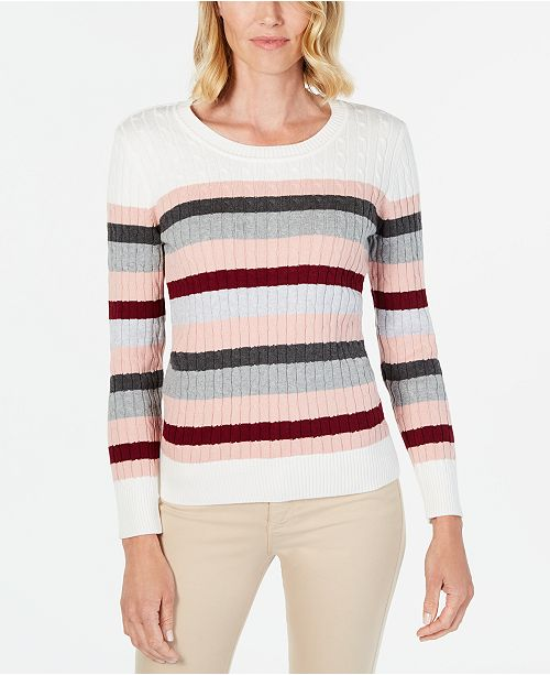 Karen Scott Petite Striped Cotton Cable-Knit Sweater, Created For Macy's