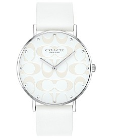 COACH Women's Perry White Leather Strap Watch 36mm
