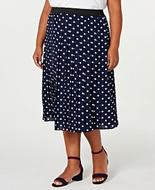 Plus Size Polka Dot Pleated Midi Skirt, Created for Macy's