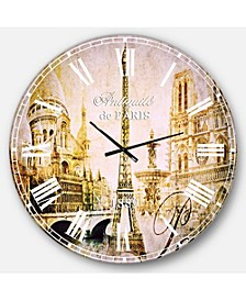 Cityscape Digital Oversized Round Metal Wall Clock
