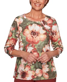 Alfred Dunner Petite Cedar Canyon Bold Flowers Printed 3/4-Sleeve Top