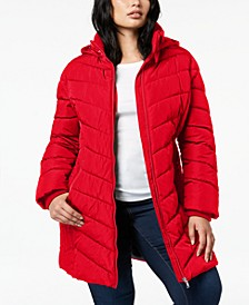 Plus Size Faux-Fur-Trim Hooded Puffer Coat, Created For Macy's