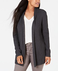 Karen Scott Petite Cotton Mixed-Knit Cardigan, Created for Macy's