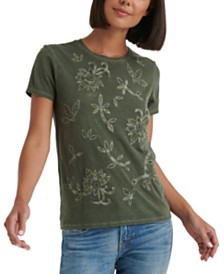 Lucky Brand Embroidered Appliqué T-Shirt
