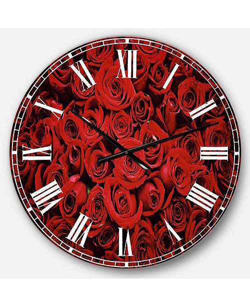 Designart Floral Oversized Round Metal Wall Clock