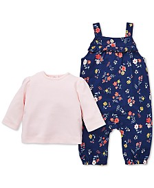 Little Me Baby Girls 2-Pc. T-Shirt & Floral-Print Overalls Set