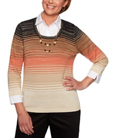 Alfred Dunner Petite Ombré Layered-Look Sweater
