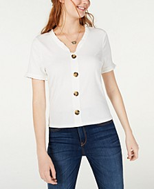 Juniors' Button-Trimmed Ruffle Top, Created for Macy's