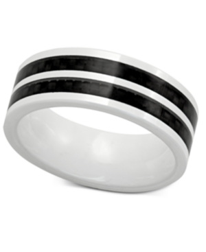 Men's White Ceramic and Black Carbon Fiber Ring, Two-Tone Band Ring