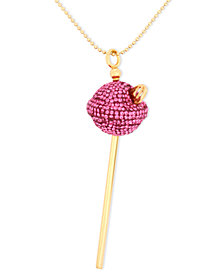 Simone I. Smith 18K Gold over Sterling Silver Necklace, Medium Pink Crystal Lollipop Pendant