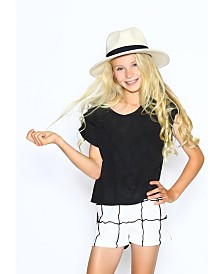 Lanoosh Big Girls Normal Fit with Black Front Marrow Detail Shorts