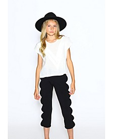 Little Girls Normal Fit Pant with Scallop Side Detail