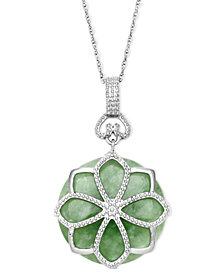 Sterling Silver Necklace, Jade Flower Pendant (21 ct. t.w.)