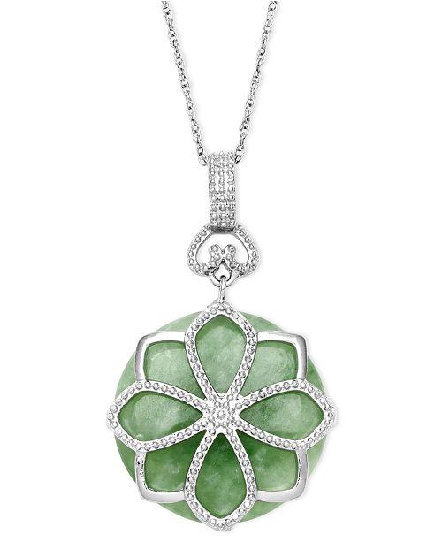 Macy's Sterling Silver Necklace, Jade Flower Pendant (21 ct. t.w.)